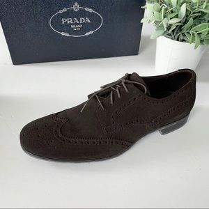 NEW!  Prada Wing-Tip Brown Suede Shoes